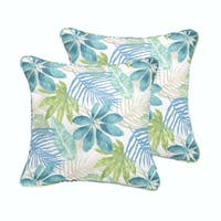 Humble + Haute Indoor/ Outdoor Blue/ Green Tropical Square Pillow, Set of 2