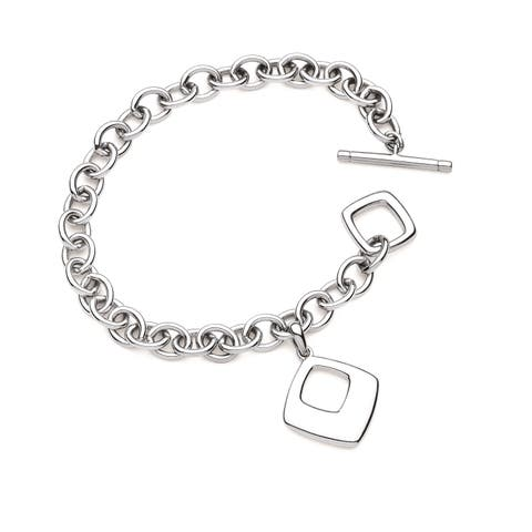 Sterling Silver Diamond-Shaped Charm Toggle Bracelet