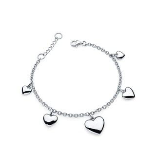 Sterling Silver Dangling Hearts Charm Bracelet