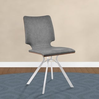 Armen Living Marley Dining Chair in Vintage Grey Faux Leather and Walnut Back - Set of 2 - N/A