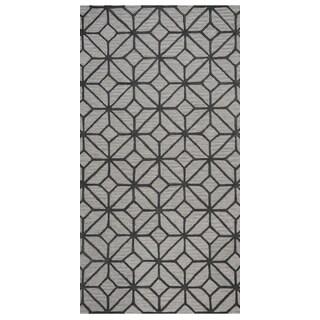 Rizzy Home Luniccia Grey Geometric Round Area Rug - 8' x 8'