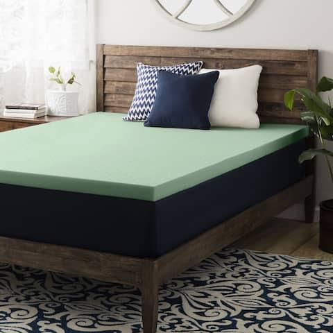 2 Inch Green Tea Memory Foam Topper - Crown Comfort