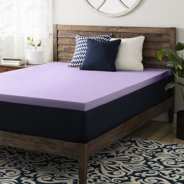 2 Inch Lavender Memory Foam Mattress Topper - Crown Comfort