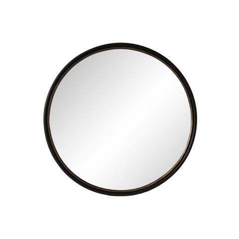 Aurelle Home Black 37.5-inch Modern Round Mirror