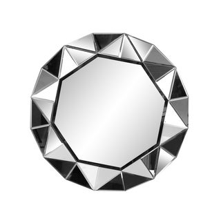 Aurelle Home Large Round Contemporary Framed Mirror - Clear - N/A
