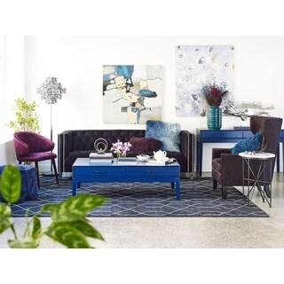 Aurelle Home Blue Ivory Contemporary Area Rug - 8' x 10'
