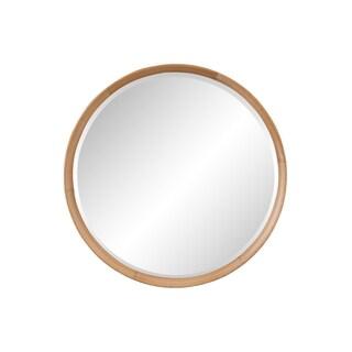 Aurelle Home Modern Solid Oak Round Mirror - Brown