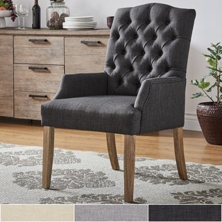 Benchwright Premium Tufted Linen Dining Arm Chair by iNSPIRE Q Artisan
