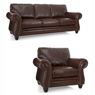 Bronco Premium Brown Top Grain Italian Leather Sofa and Chair