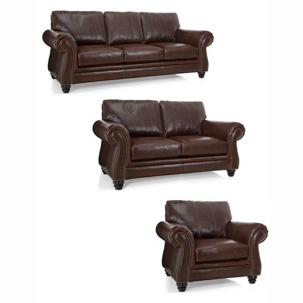 Shop Bronco Premium Brown Top Grain Italian Leather Sofa, Loveseat ...