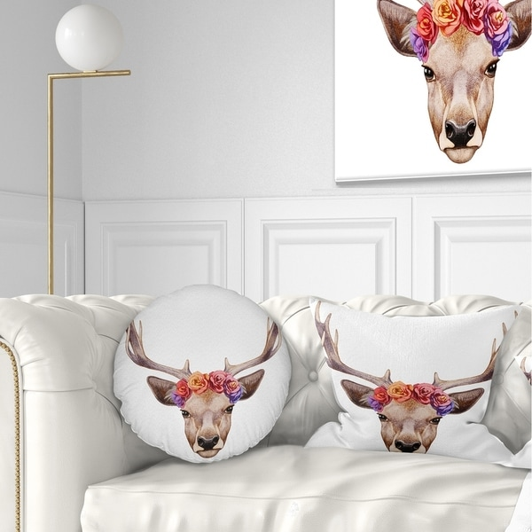Designart 'Designart Deer Portrait with Floral Head' Deer Throw Pillow