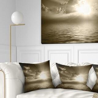 Designart 'Sepia Toned Cloudy Sunrise' Landscape Printed Throw Pillow
