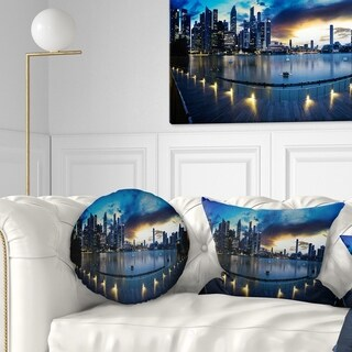 Designart 'View from Marina Bay Sands Panorama' Cityscape Throw Pillow