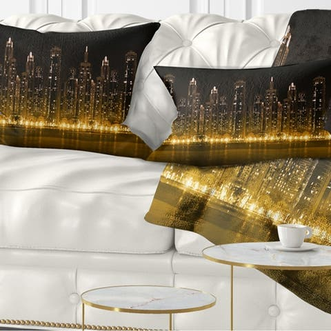 Designart 'Modern City with Illuminated Skyscrapers' Cityscape Throw Pillow