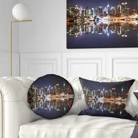 Designart 'New York City Skyscrapers in Blue Shade' Cityscape Throw Pillow