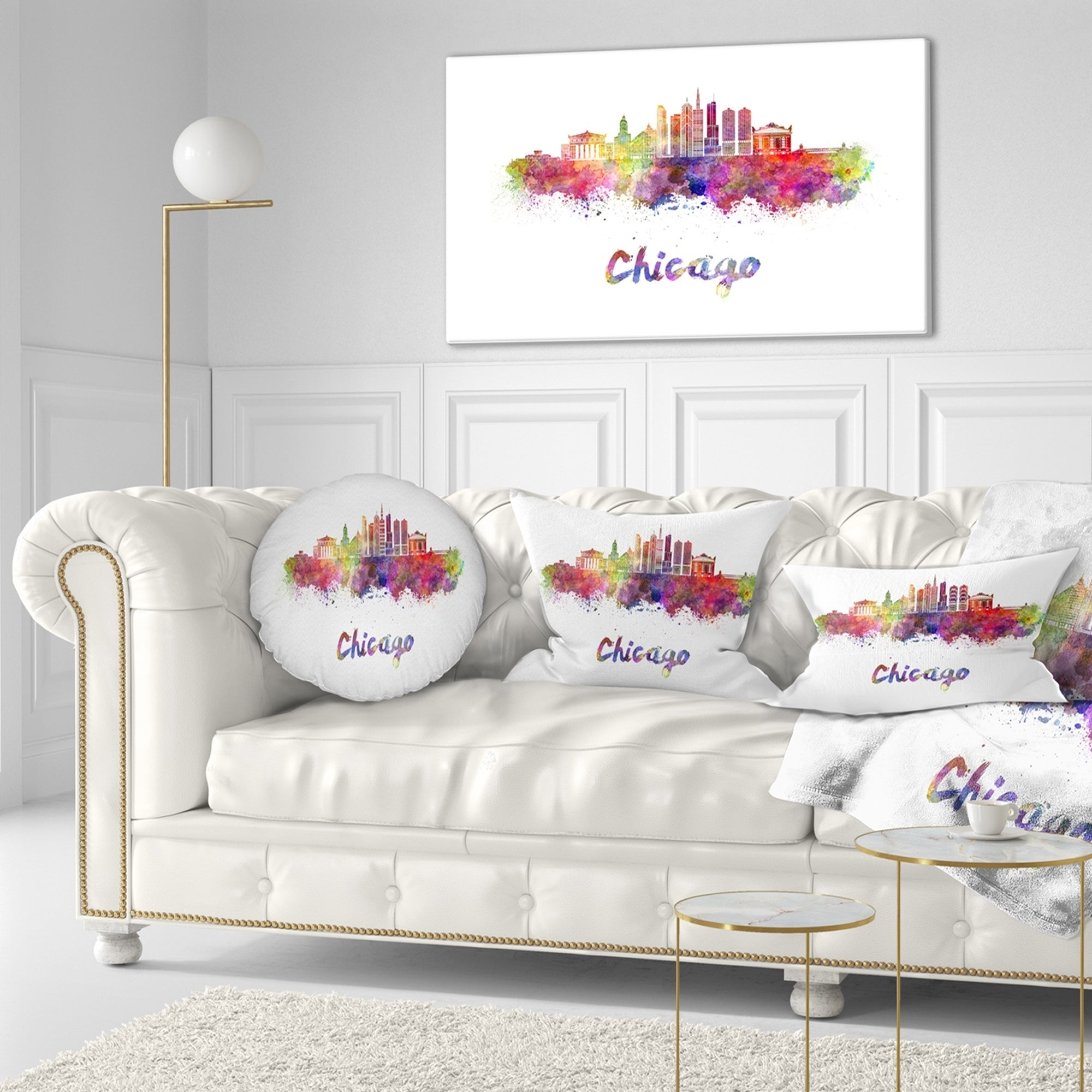 Designart Colorful Chicago Skyline In Watercolor Cityscape Throw Pillow On Sale Overstock 20943582