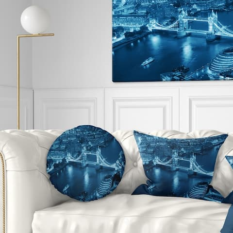 Designart 'Blue London Night Aerial View' Cityscape Throw Pillow