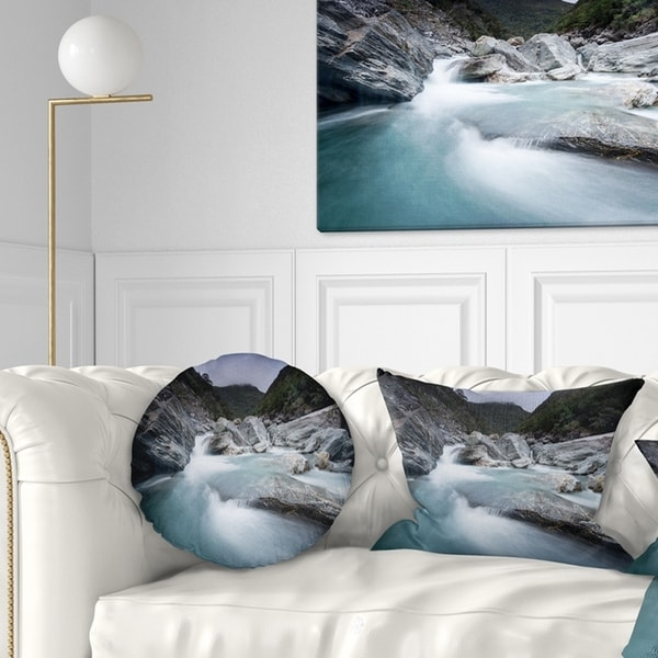 Designart 'Slow Motion Mountain River in Blue' Seashore Throw Pillow