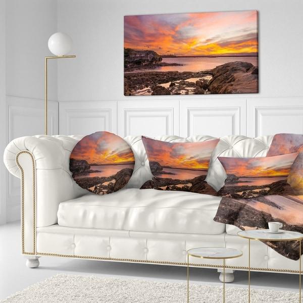 Designart 'Sunset Sky Panoramic Sydney View' Seashore Throw Pillow