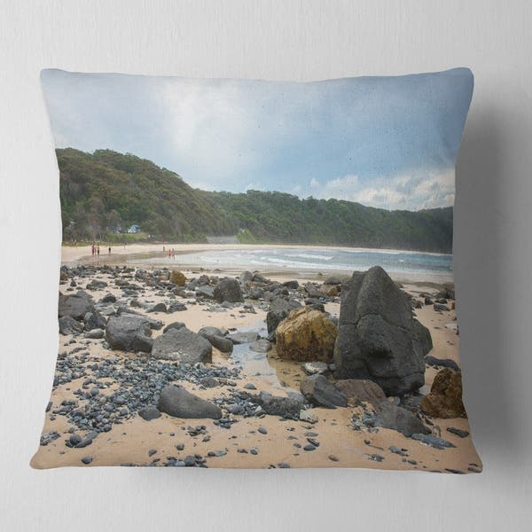 Designart Pretty Beach With Small And Big Rocks Seashore Throw Pillow Overstock 20943659