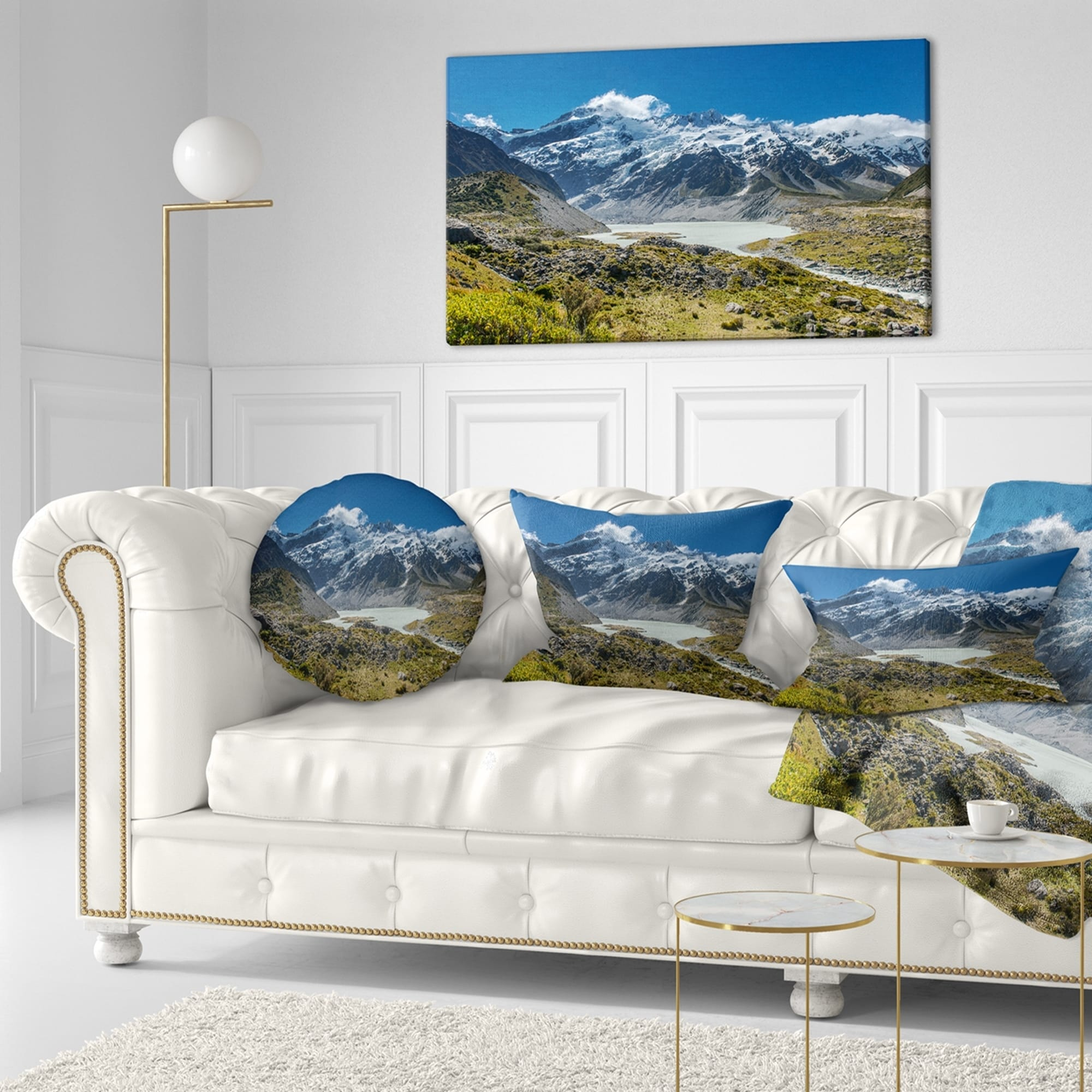 Designart Green And White Mountains New Zealand Landscape Printed Throw Pillow On Sale Overstock 20943665