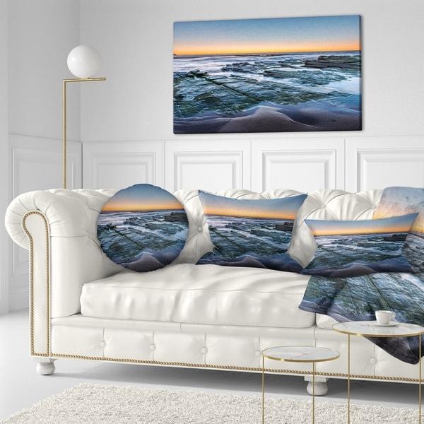 Designart 'Sunrise Over Wide Sydney Ocean' Seashore Throw Pillow