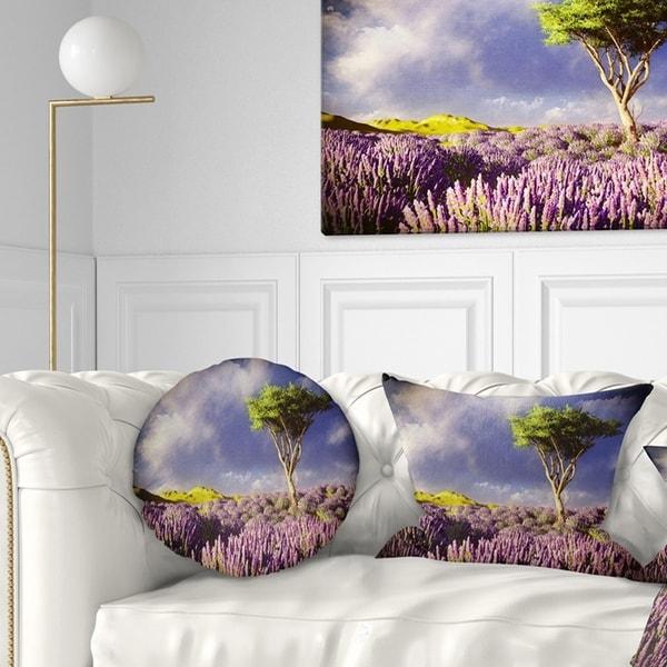 Designart 'Green Tree in Lavender Field' Modern Landscape Printed Throw Pillow