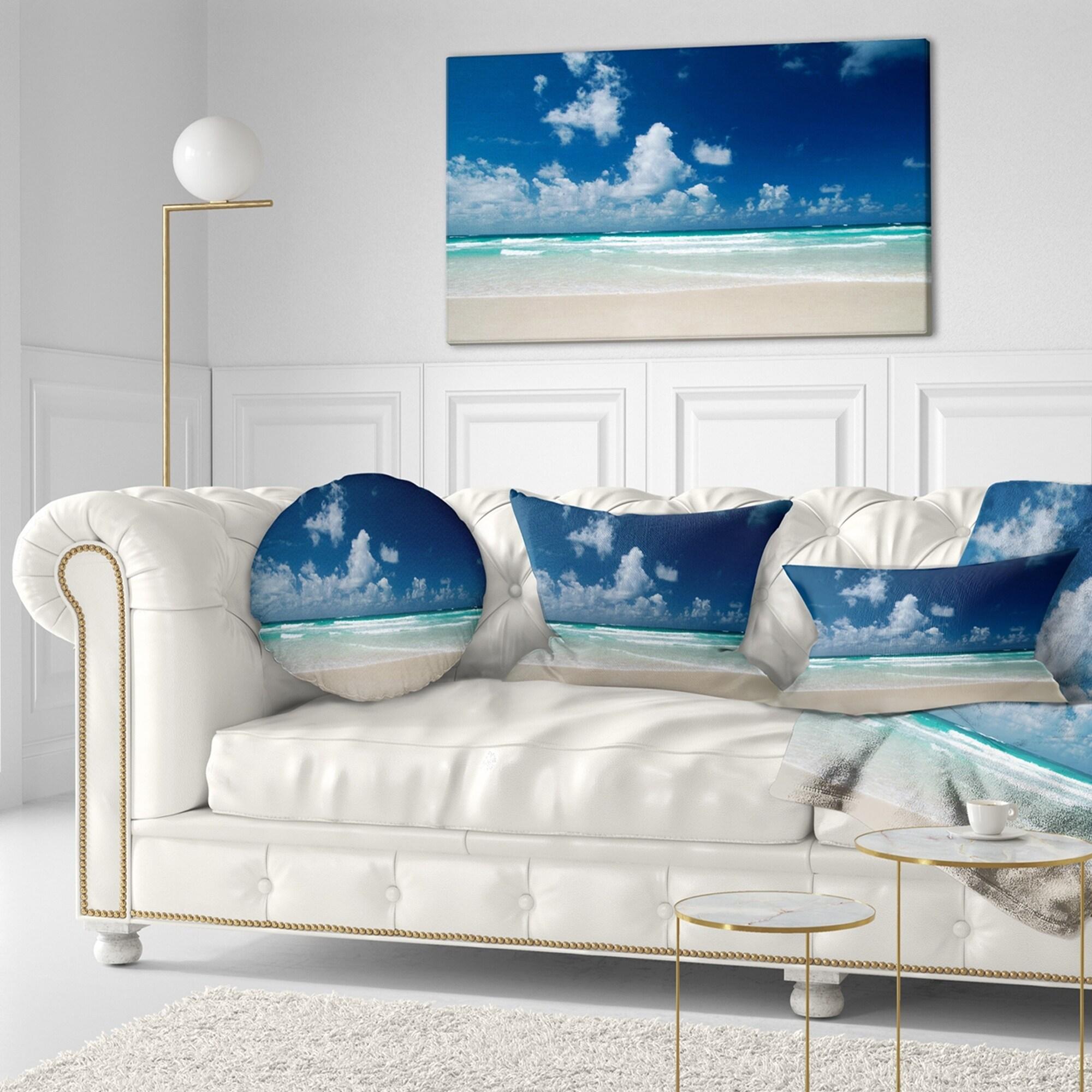 Designart Bright Blue Sky On Winter Day Seashore Throw Pillow On Sale Overstock 20943690
