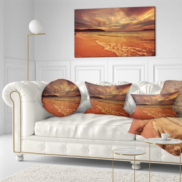 Designart 'Brown Serene Tropical Beach' Seashore Throw Pillow