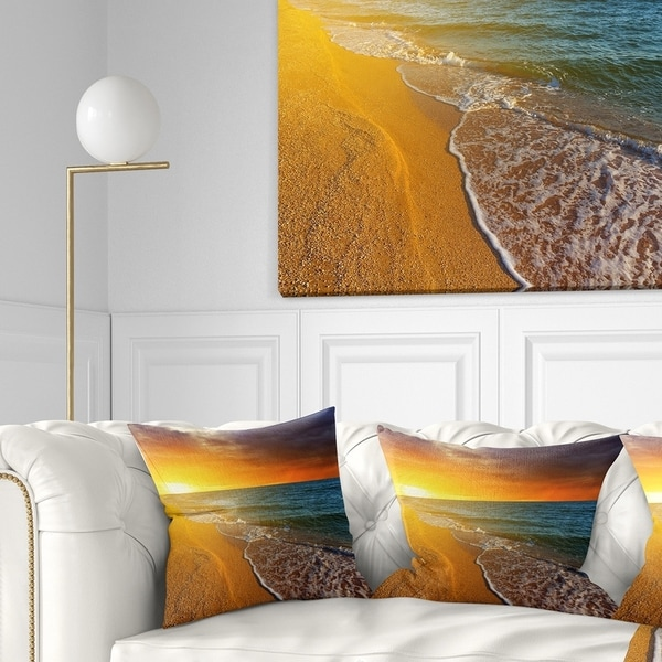 Designart 'Fantastic Yellow Sky in Blue Beach' Seashore Throw Pillow