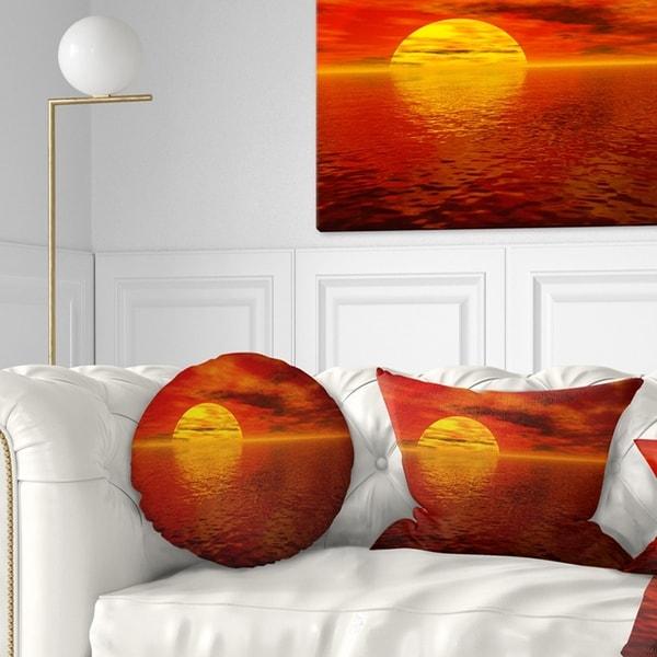 Designart 'Sun Falling to Yellow Ocean' Seashore Throw Pillow