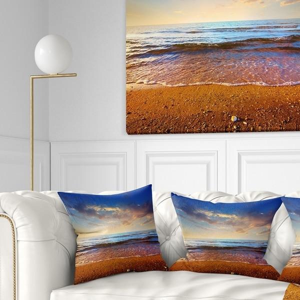 Designart 'Cloudy Skies with Vibrant Seashore' Modern Beach Throw Pillow