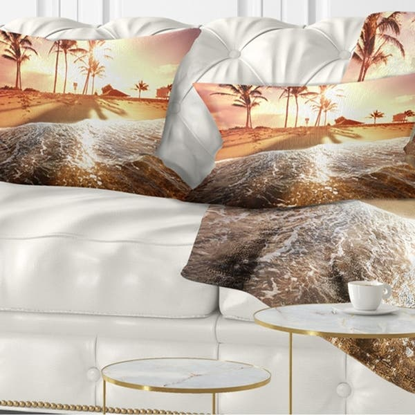 Designart Colorful Tropical Beach With Palms Modern Beach Throw Pillow On Sale Overstock 20943778