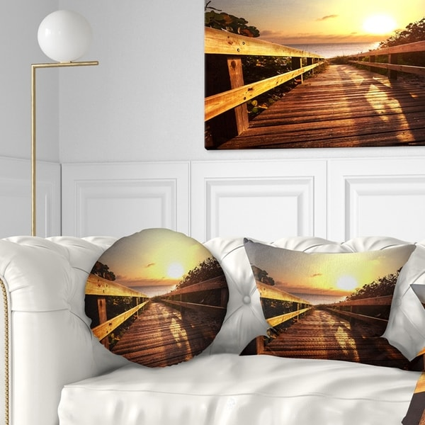 Designart 'Wooden Boardwalk on Beach' Sea Bridge Throw Pillow