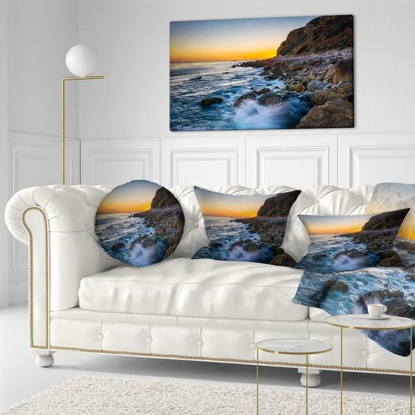 Designart 'Crashing Waves at Pelican Cove' Seascape Throw Pillow