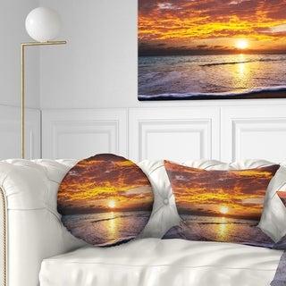 Designart 'Yellow Sunset above Foaming Waves' Modern Beach Throw Pillow