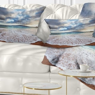 Designart 'Deep Seashore with Clouds and Waves' Seascape Throw Pillow