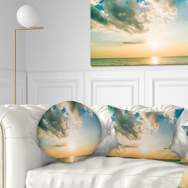 Designart 'Clouds Together Over Blue Seashore' Seascape Throw Pillow