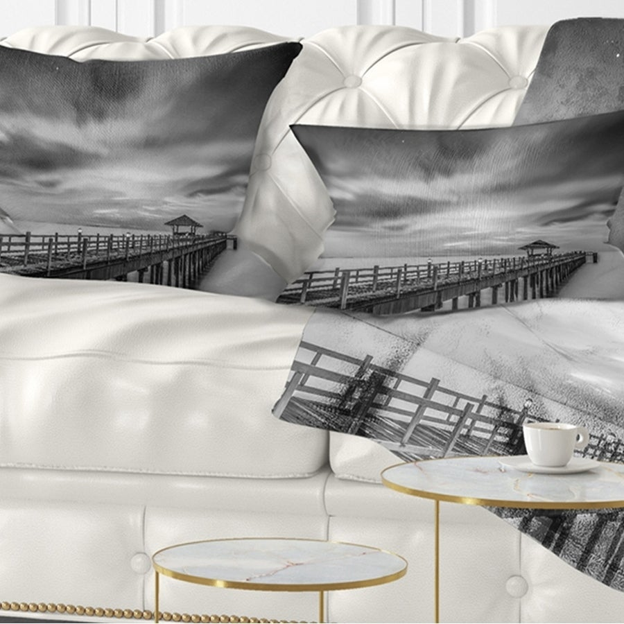 Designart Black And White Wooden Bridge And Sky Pier Seascape Throw Pillow On Sale Overstock 20943885