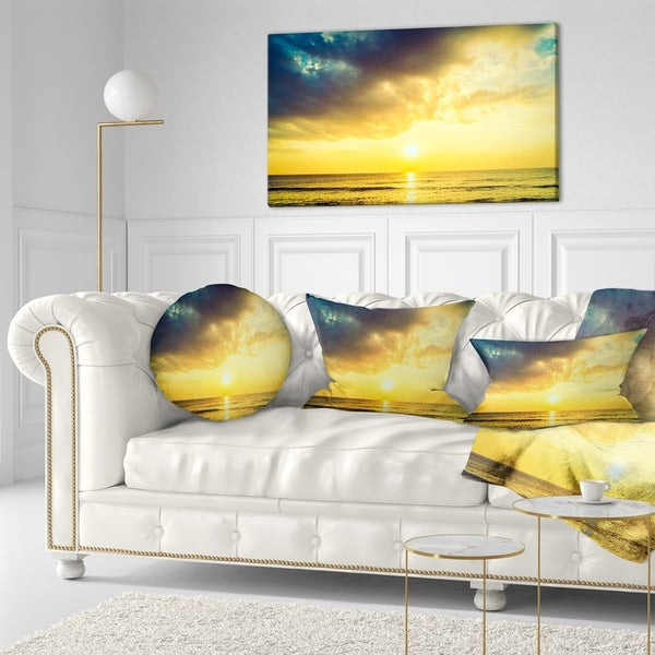 Designart 'Yellowish Sky over Serene Seashore' Seascape Throw Pillow