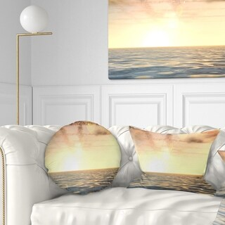 Designart 'Beautiful Seascape with Clouds Over' Beach Photo Throw Pillow
