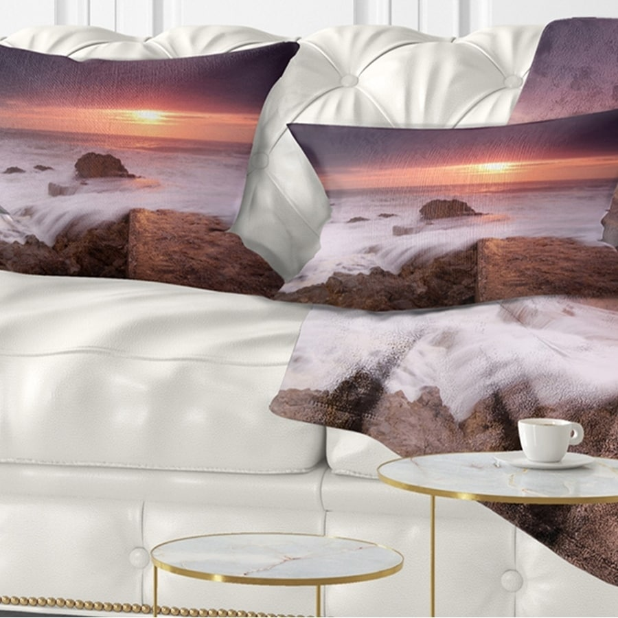 Designart Flowing Waves At Cable Shallow Coast Seashore Throw Pillow On Sale Overstock 20943994