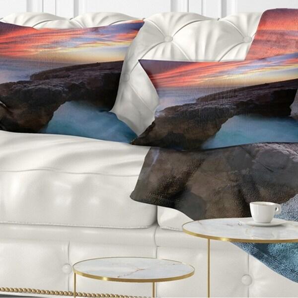 Designart 'Colorful Cabo Raso Seashore Portugal' Seashore Throw Pillow