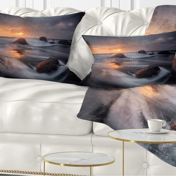 Designart 'Sunrise in Burgas Bay near Atia' Seashore Throw Pillow