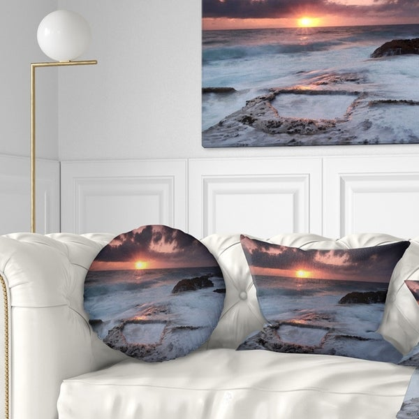 Designart 'Cable Shallow Coast Cascais Portugal' Seashore Throw Pillow