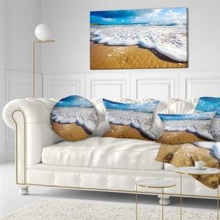 Designart 'Foaming Ocean Waves on Sand' Seascape Throw Pillow