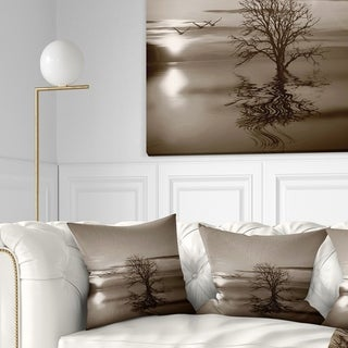 Designart 'Flying Birds and Lonely Tree' Landscape Printed Throw Pillow