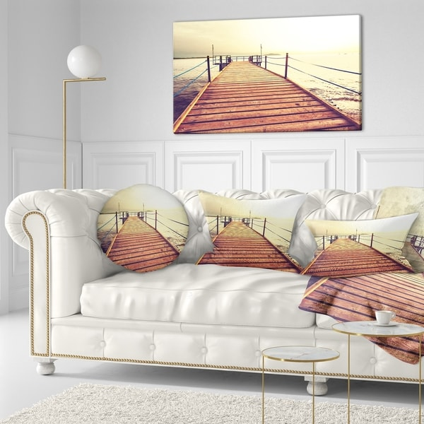 Designart 'Brown Wooden Boardwalk to the Sea' Bridge Throw Pillow