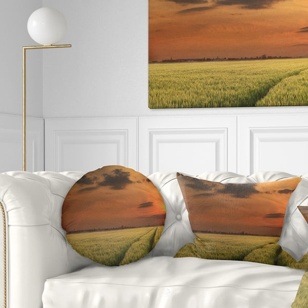 Designart 'Sunset over a Field of Cereals' Landscape Printed Throw Pillow