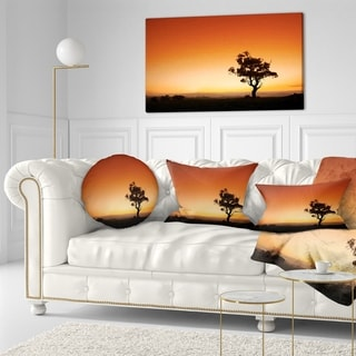 Designart 'Sunrise with Lonely Tree' Landscape Printed Throw Pillow